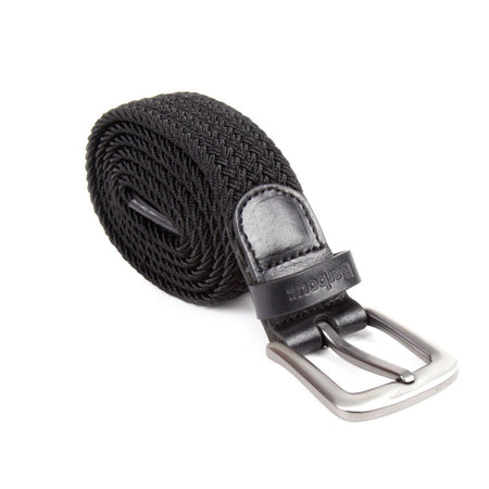 Barbour Stretch Webbing Leather Belt (Black)