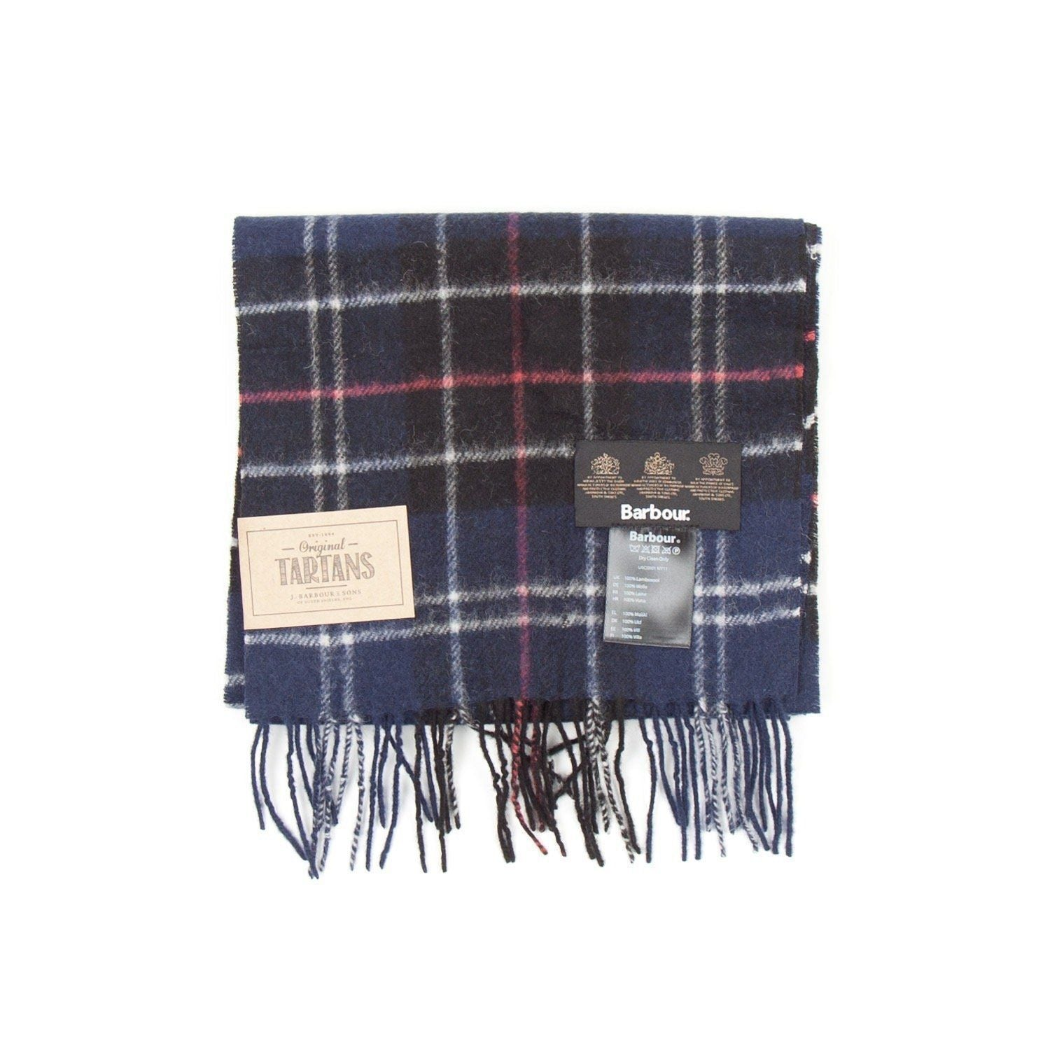 Barbour Tartan Lambswool Scarf (Navy & Red) 1