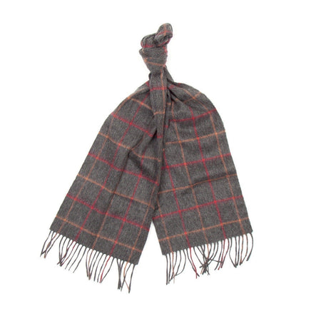 Barbour Tattersall Lambswool Scarf (Charcoal & Red)