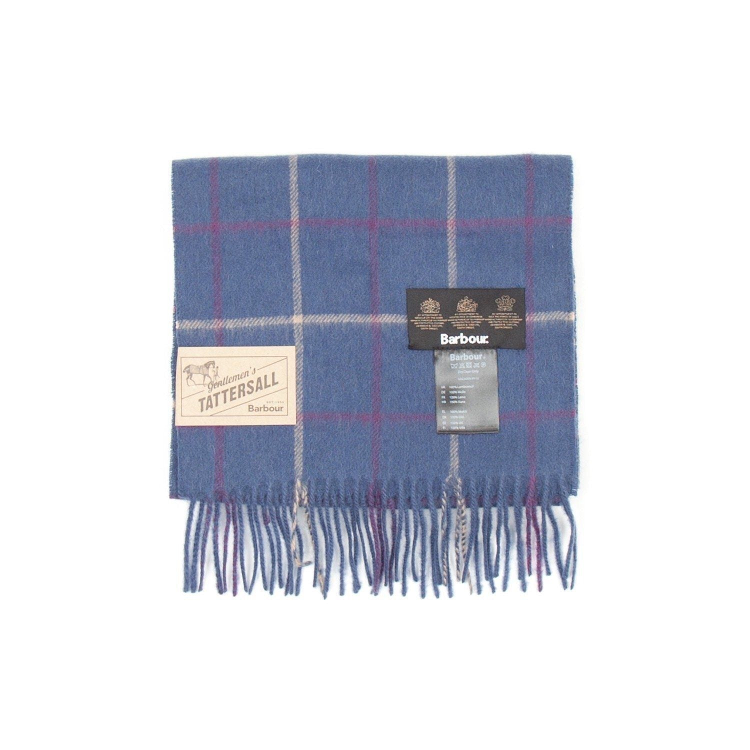 Barbour Tattersall Lambswool Scarf (Navy & Plum) 1