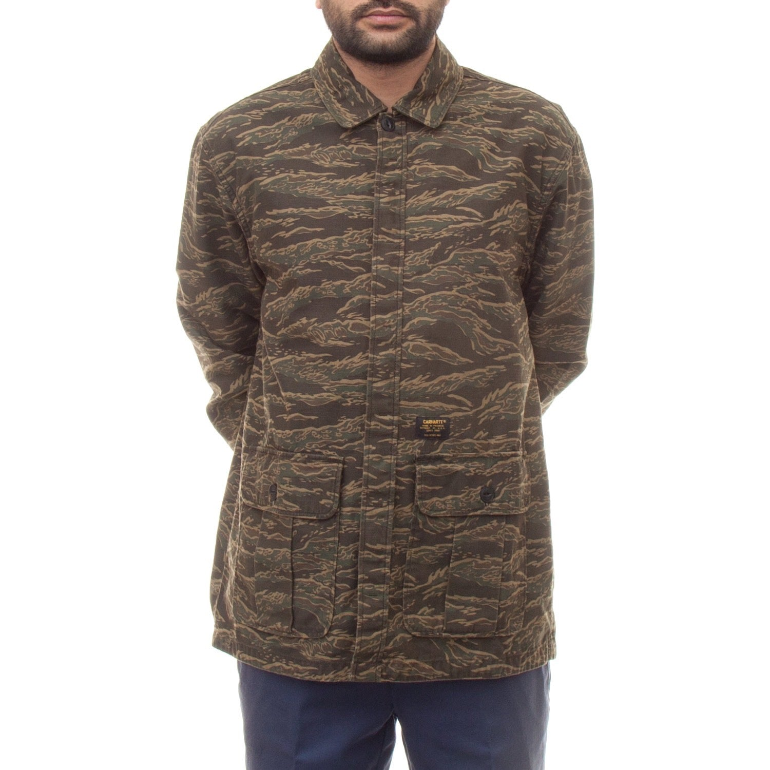Carhartt Anson Shirt Jac (Camo Tiger Laurel Stone Washed)-4