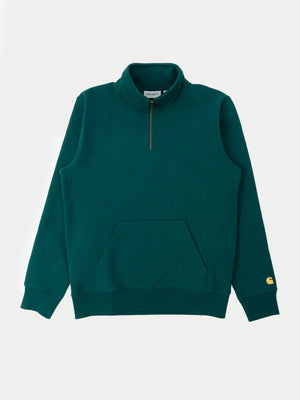 Carhartt Chase Neck Zip Sweatshirt (Dark Fir & Gold) 1