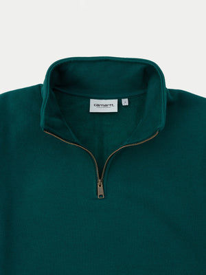 Carhartt Chase Neck Zip Sweatshirt (Dark Fir & Gold) 2