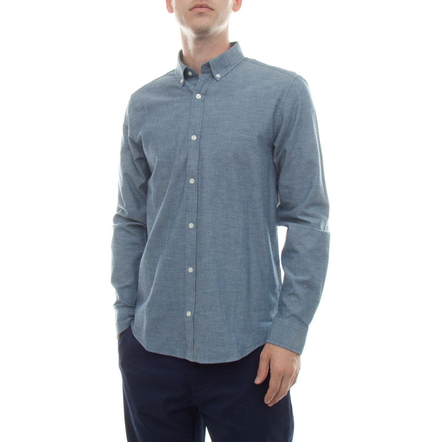 Carhartt Long Sleeve Kyoto Shirt (Blue Stone Washed) - Number Six 1