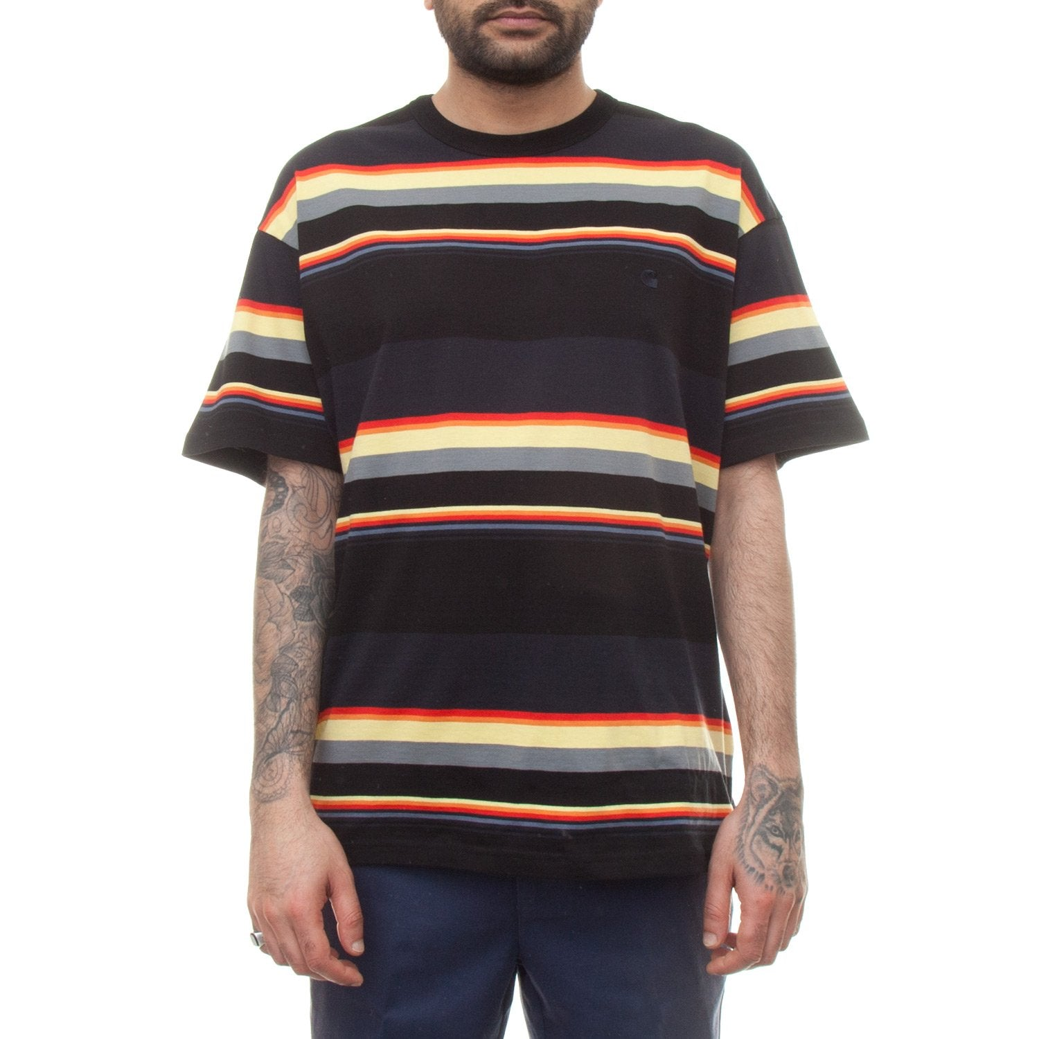 Carhartt S/S Sunder T-Shirt (Black & Dark Navy Stripe)-4