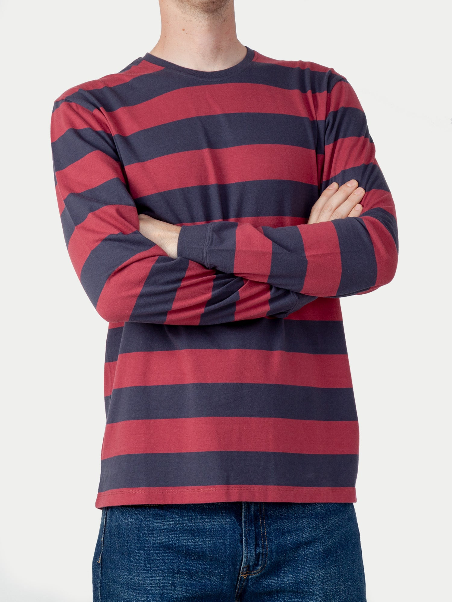 Edwin Beely L/S T-Shirt (Ebony & Ruby Wine Stripes) 1