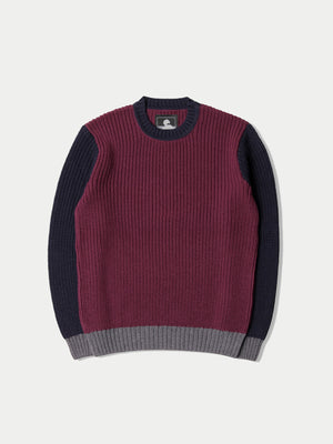 Edwin Line Sweater (Dark Purple, Navy & Grey Heather) 1
