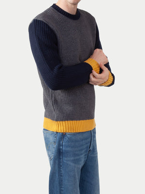 Edwin Line Sweater (Grey Heather, Navy & Gold) 2