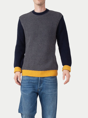 Edwin Line Sweater (Grey Heather, Navy & Gold) 1