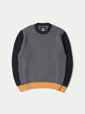 Edwin Line Sweater (Grey Heather, Navy & Gold)22
