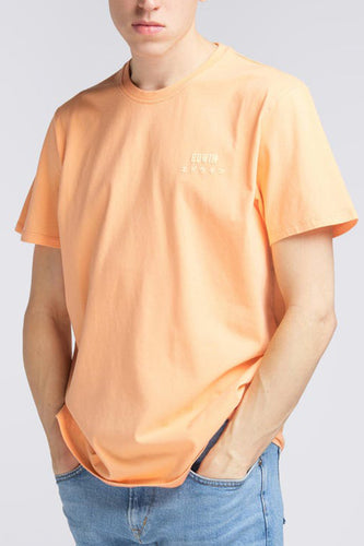 Edwin Garment Washed Chest Logo T-Shirt (Cantaloupe) Front