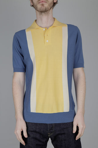Far Afield Cole Trio Short Sleeve Knitted Polo Shirt (Yellow & Blue)