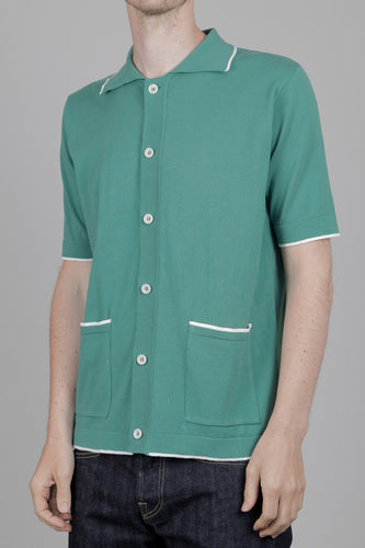 Far Afield Errol Short Sleeve Knitted Polo Shirt (Green & White) Front