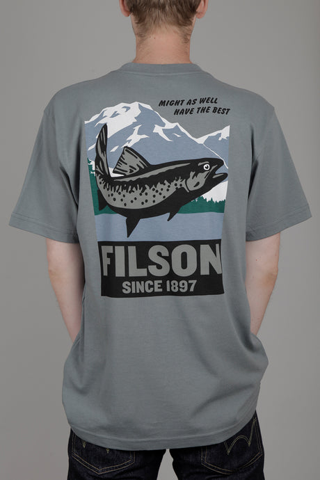 Filson Short Sleeve Outfitter Graphic T-Shirt (Sage Grey) Back
