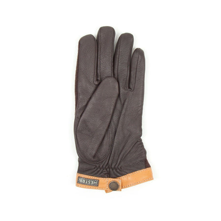 Hestra Deerskin Tricot Glove (Brown & Dark Brown)2