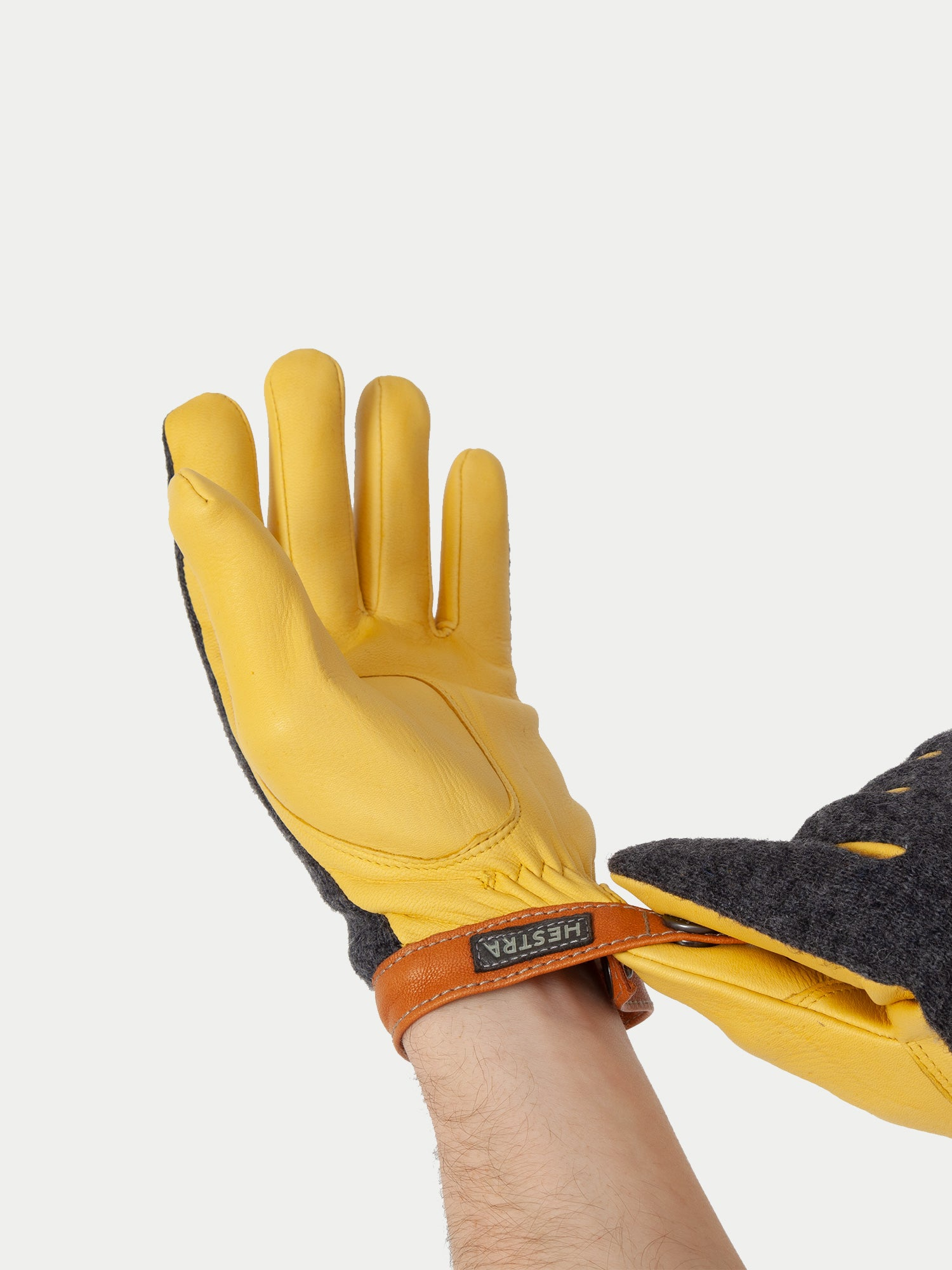 Hestra Deerskin Tricot Glove (Grey & Yellow) m1