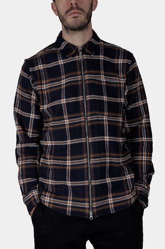 Carhartt WIP Bryan Long Sleeve Zip Shirt (Dark Navy / Blacksmith)