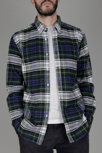 Portuguese Flannel Sacramento Shirt (Navy/Green/Yellow)