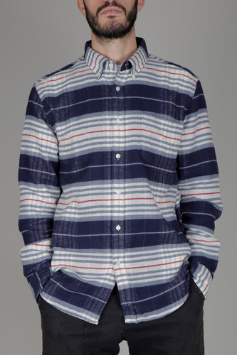 Portuguese Flannel Bleeckers Stripe Shirt (Blue/White/Red)