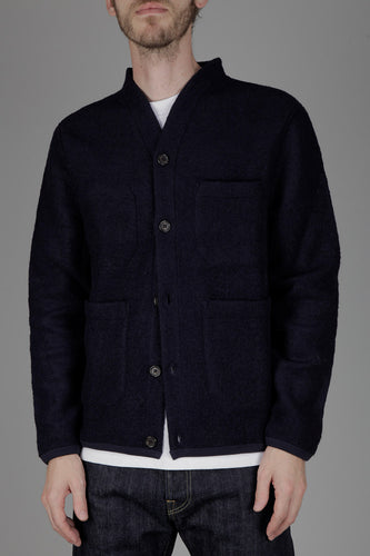 Universal Works Wool Fleece Cardigan (Navy)
