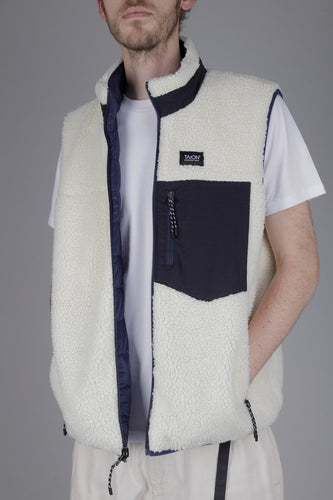 Taion Reversible Fleece Down Vest (Navy & Ivory)