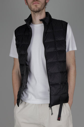Taion 002 High Neck Double Zip Down Vest (Black)