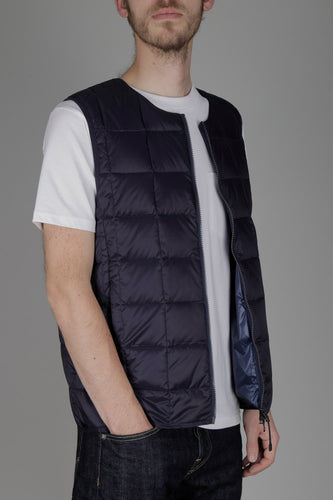Taion 005 Double Zip Crew Neck Down Vest (Navy)
