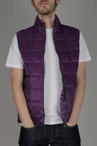 Taion 002 High Neck Double Zip Down Vest (Deep Purple)