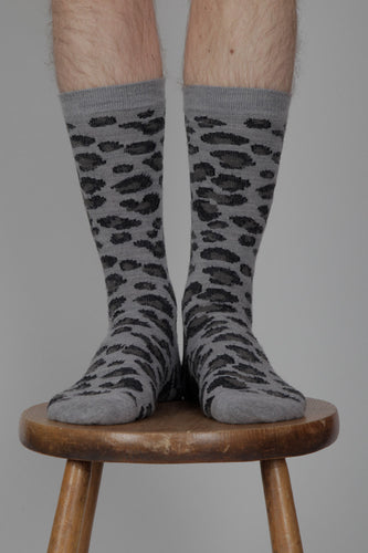 Anonymous Ism Brushed Animal Pattern Crew Socks (Light Grey)