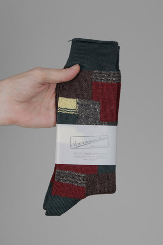 Anonymous Ism Patchwork Crew Socks (Moss)