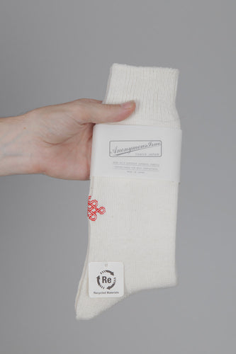 Anonymous Ism Crest Embroidered Crew Socks (Off White)