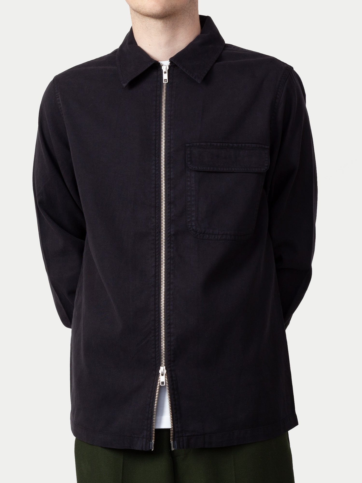 NN07 Alf Zip Shirt (Antracite Grey Melange) 1