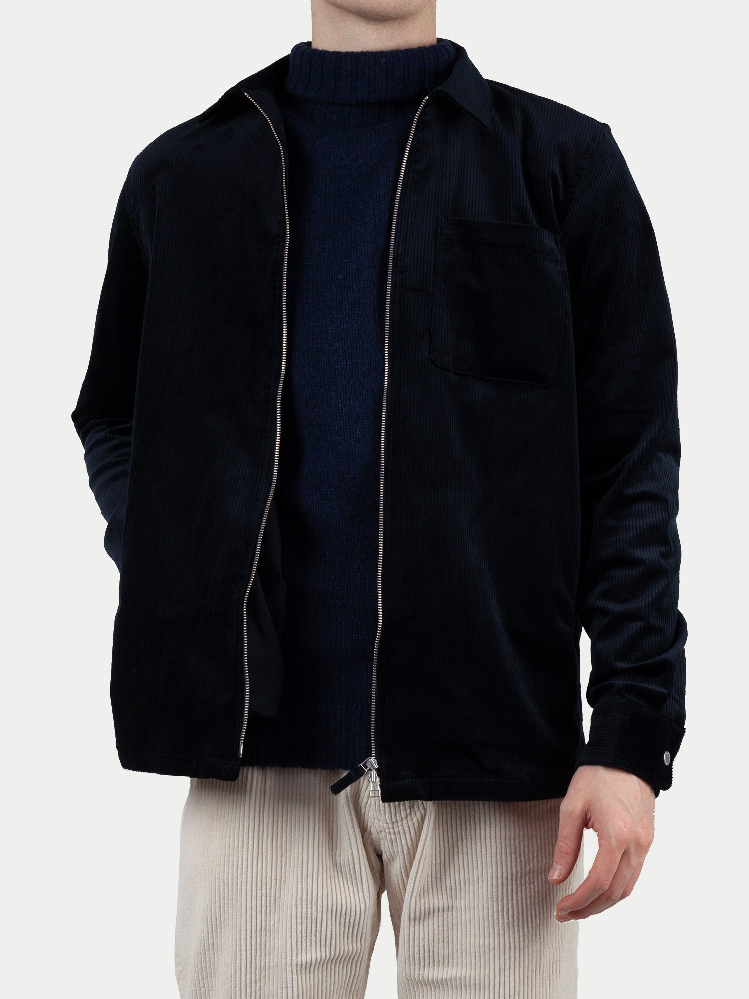NN07 Zip Shirt (Navy Cord) m1