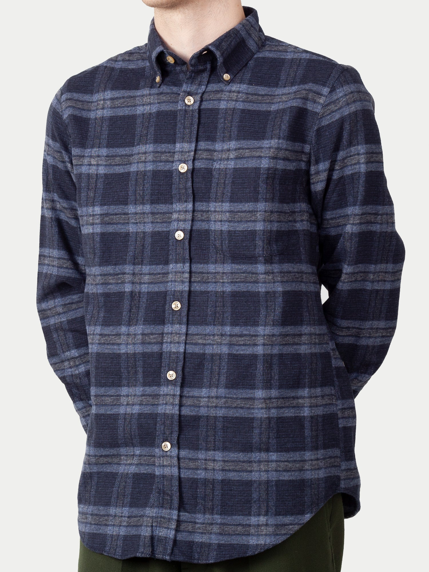 Portuguese Flannel Abstract Check Shirt (Navy & Grey) 1
