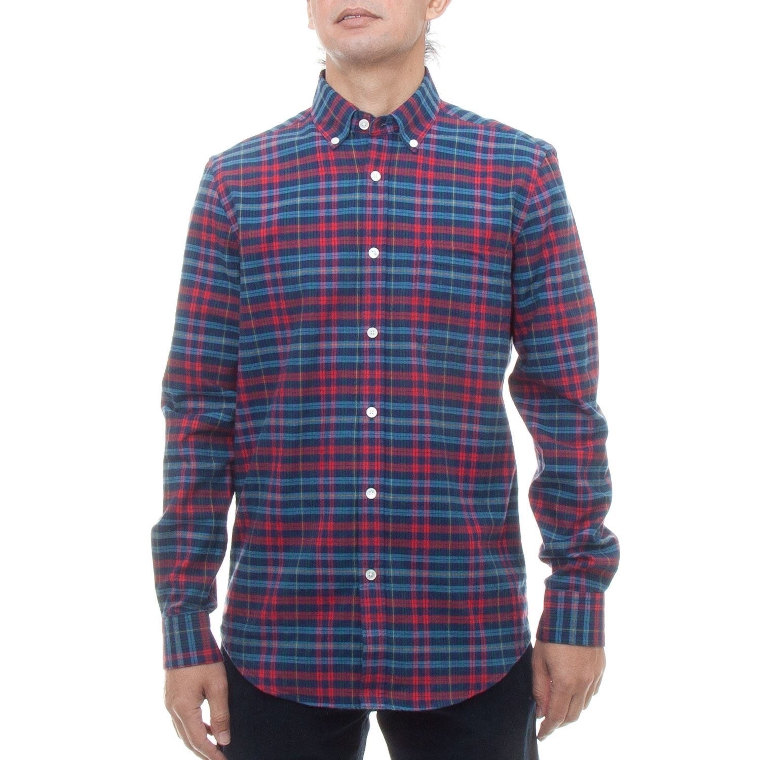 Portuguese Flannel Conde Shirt (Red & Blue)-4