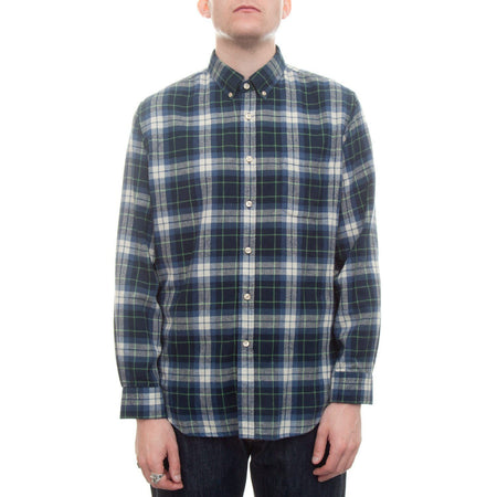 Portuguese Flannel Laboreiro Shirt (Blue, Green & White) 1