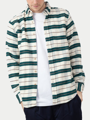 Portuguese Flannel Bravo Shirt (Green & White) m1