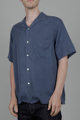Portuguese Flannel Dogtown Short Sleeve Shirt (Blue) Front