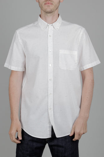 Portuguese Flannel Ebano Short Sleeve Shirt (White) Fron