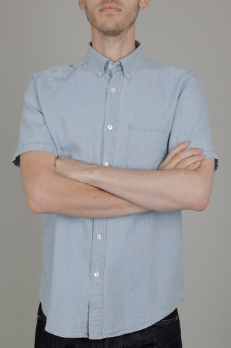 Portuguese Flannel Ganga Short Sleeve Shirt (Denim)
