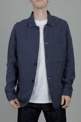 Portuguese Flannel Linen Labura Jacket (Navy) Model