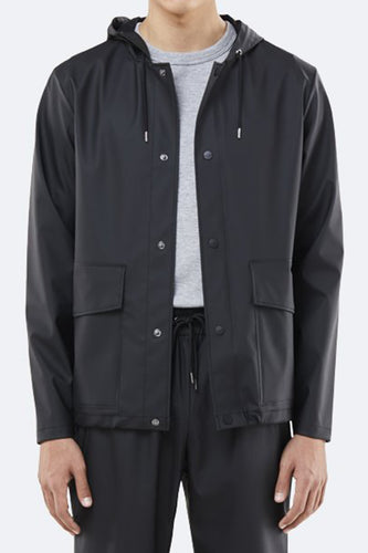 Rains Short Hooded Coat (Black) Front