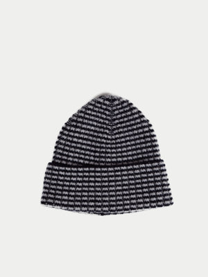 SIXES Checked Beanie (Jet & Pearl Grey) 1