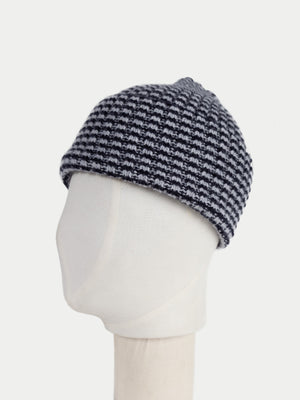 SIXES Checked Beanie (Jet & Pearl Grey) 2