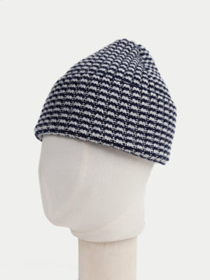SIXES Checked Beanie (Navy & Pearl Grey) 2