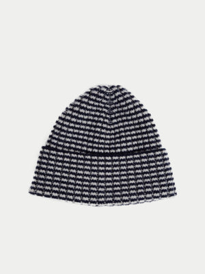 SIXES Checked Beanie (Navy & Pearl Grey) 1