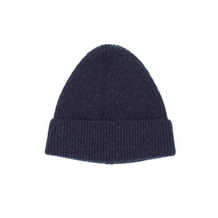 SIXES Lambswool Fine Rib Beanie (Oxford Blue)
