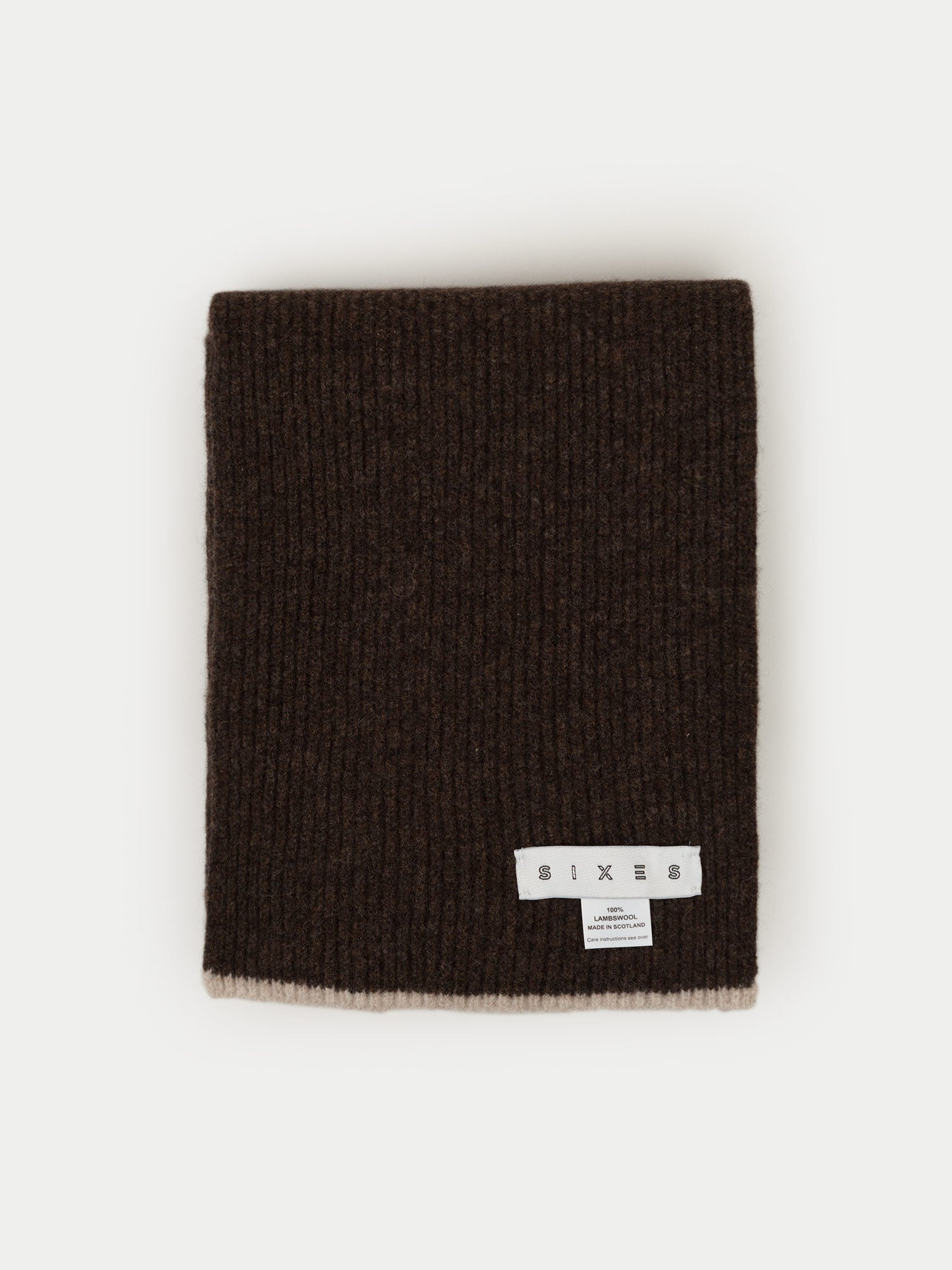SIXES Lambswool Scarf (Brown & Oatmeal)
