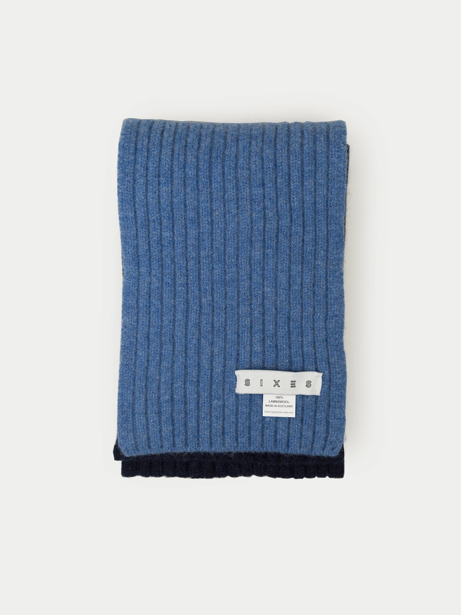 SIXES Lambswool Two Tone Scarf (Blue & Navy)