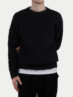 SIXES Mohair Diamond Crew Neck Sweater (Midnight Black) m1